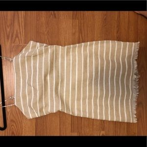 Beige/ White Striped Dress, Bobbles and Lace Brand